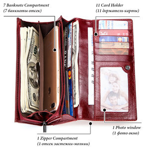 Image 3 - KAVIS Genuine Leather Women Wallet and Purse Female Coin Purse Portomonee Clamp For Money Bag Zipper Card Holder Handy Perse