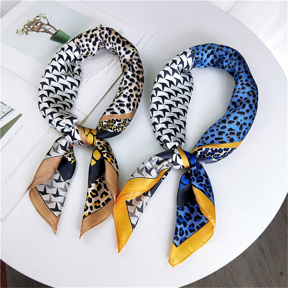 Women Sexy Sexy Leopard Printed Square   Scarf   Multifunction Silk Feel Satin Square   Scarf   Neck Tie Hair Band   Wraps     Scarves   Shawl