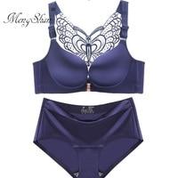 47017cc1c Lingerie Femme Butterfly Beauty Back Big Size Bra Set Sexy Gathering Fat MM Plus  Size Bra