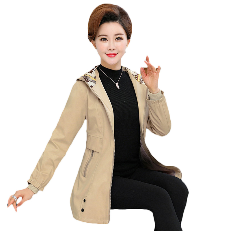 2018New Spring Autumn Long Trench Coat Women Casual Hooded Outerwear Middle-aged Long-sleeved Large Size Windbreaker Female A264