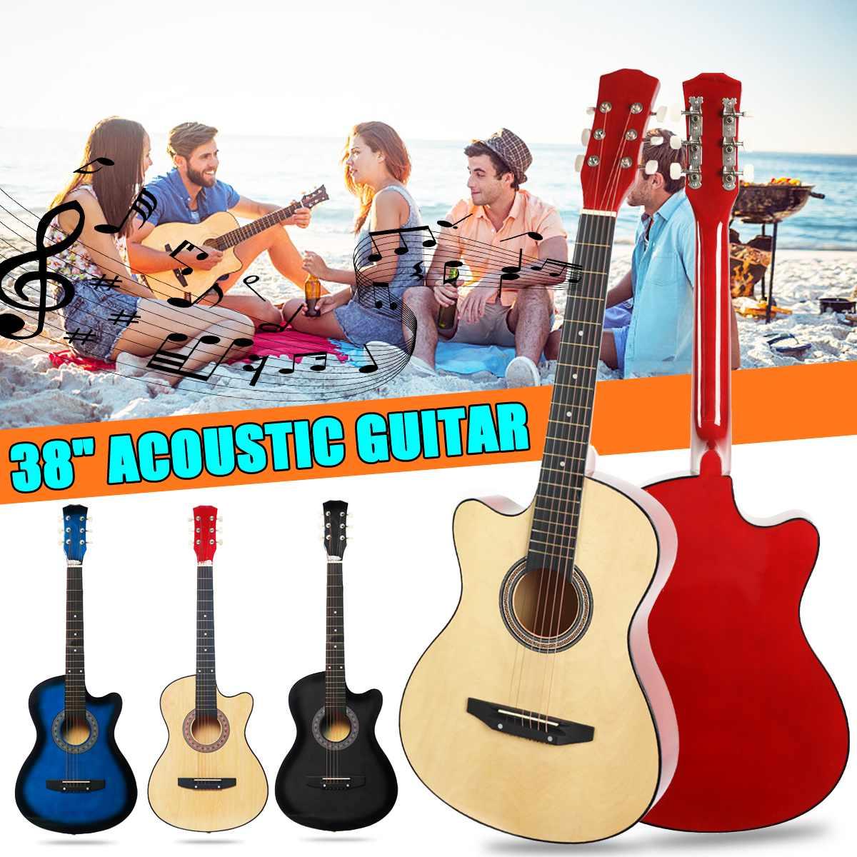 38 pouces guitare débutants guitare acoustique 6 cordes tilleul avec sangle guitare Pick cordes en acier guitare Instruments de musique