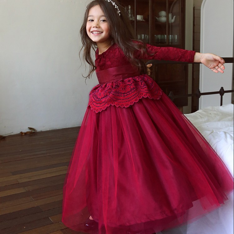 Autumn Children Lace Princess Dress Teenage Girl's Long Party Dress Red Ankle Length with Sashes