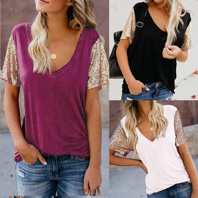 T-shirt Vrouwen Nieuwe Zomer 2020 Selling Europese Leisure V-hals Bead Patchwork Sexy Splicing Choli T-shirt Vestidos LDM190312