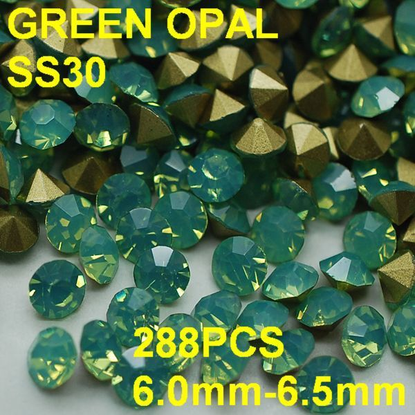 SS30 288pcs/lot 6.0mm-6.5mm New Green Color Opal Rhinestone for Women Nail Jewelry Golden Point Back