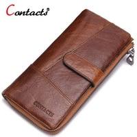 CONTACT S Men Wallet Bag Long Zipper Men Genuine Leather Wallet Card Holder Purses For Cents