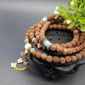 Tibet Buddhist Prayer Beads Rudraksha Beads Bracelet Pure Manual Weaving DIY Silver Butterfly Bracelets Men And Women Jewelry
