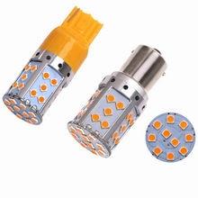 2 pcs PY21W 1156 BA15S T20 7440 35 CANBUS SMD 3030 LED 30 w Auto Luzes de Stop Traseira Turn Signal luzes (Sem Flash Hiper) âmbar