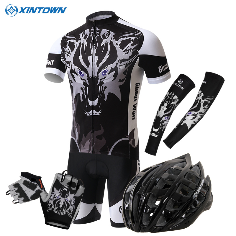 XINTOWN Bicycle Cycling Short Jersey Kit Arm Warmers Sleeves Scarfs Gloves helmet Bicicleta Road Bike Clothing Set Wolf Ghost west biking bike chain wheel 39 53t bicycle crank 170 175mm fit speed 9 mtb road bike cycling bicycle crank
