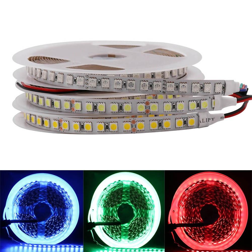 DC 12V 24V 5m 600 LED 5050 sttrip LED flexible LED Tape Rope light 120 led/m Non Waterproof white lighting light/warm white/RGB