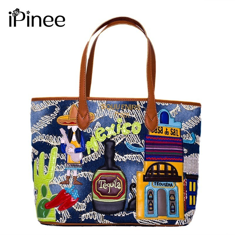 iPinee Denim Bag Vintage Canvas Shoulder Bag Women Handbags Ladies Hand Bag Tote Casual Bolsos Mujer Hobos Bolsas Feminina 2018 цена