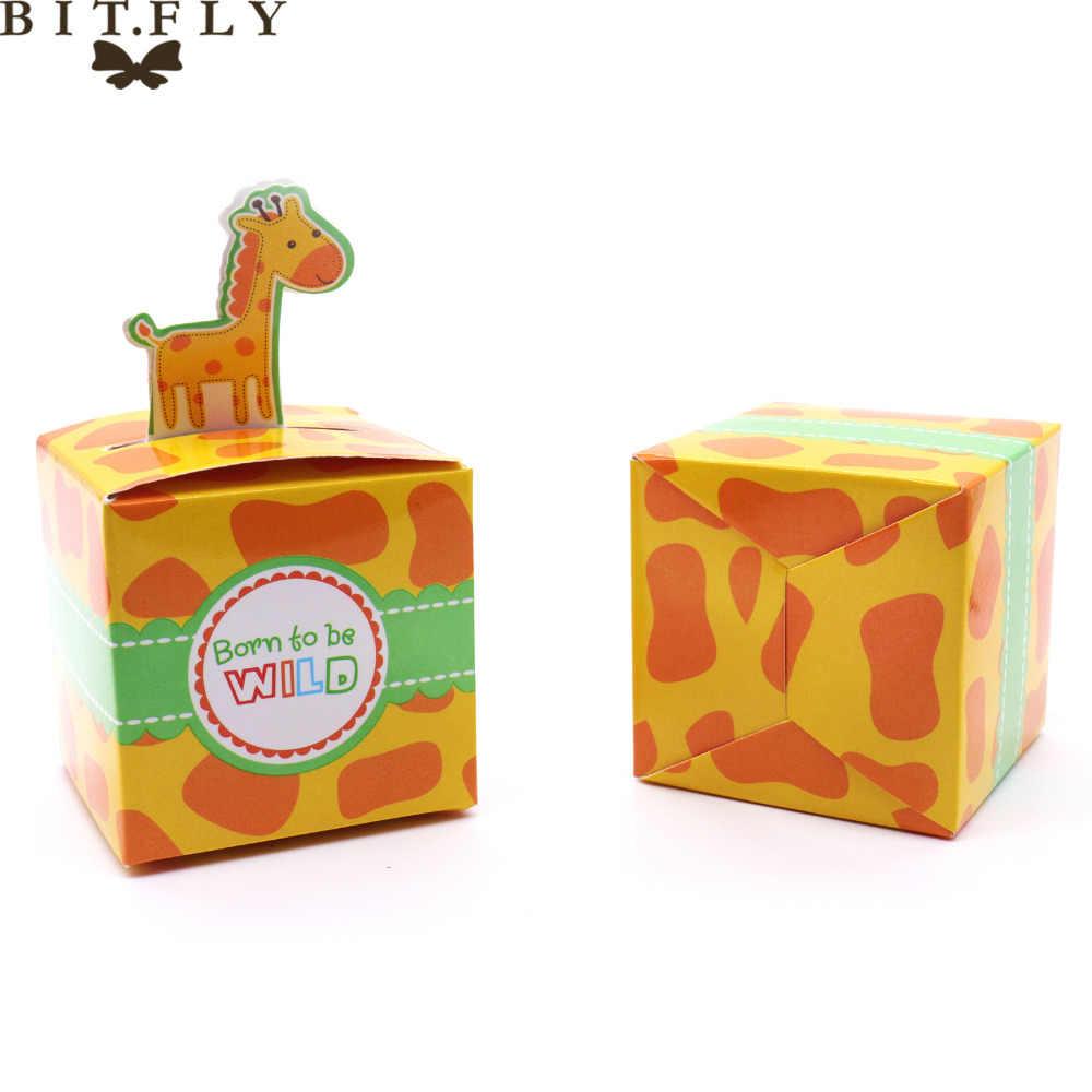 50 pcs Caixa de Doces Animais Sacos de Presente Caixa de Embalagem Caixa Queque Girafa Elefante Macaco Tigre Menino Decoração De Aniversário Dos Miúdos evento
