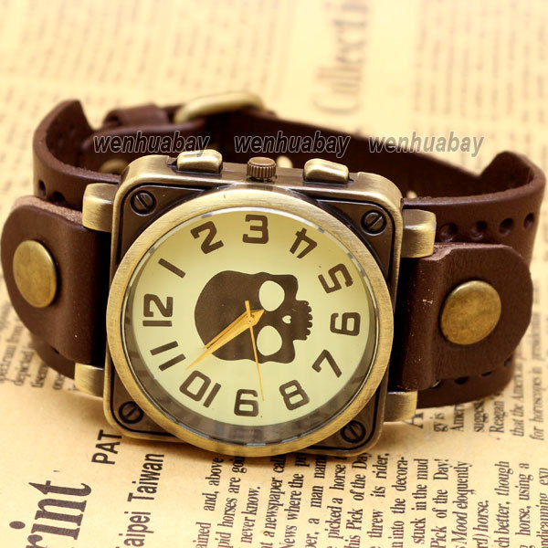 Vintage Black Leather Band Bracelet Quartz Wrist Skull Casual Watch Men Boy Retro Dark Brown stylish bracelet zinc alloy band women s quartz analog wrist watch black 1 x 377