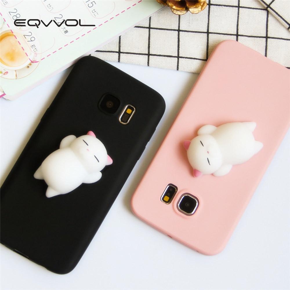 eqvvol 3d squishy cute cat phone case for samsung galaxy s9 s8 plus s7 s6 edge s5 note 8 5 4 j5