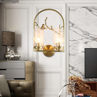 Luxury Copper Wall Lamp Art Home Decor Glass hanglamp royal house Retro Bathroom Lighting brass Lampshade E27 wall Light Fixture