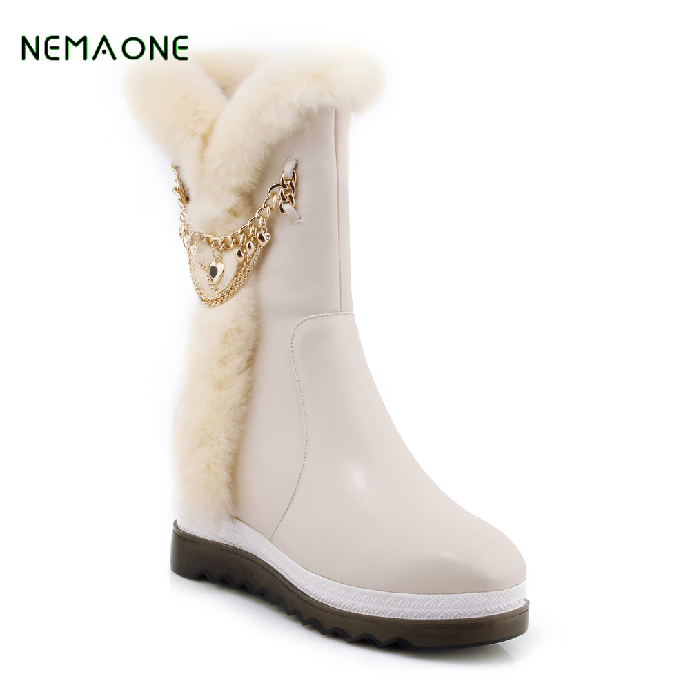 NEMAONE New Fashion 100% Genuine Cowhide Leather Snow Boots Real Fur Classic Mujer Botas Waterproof Winter Shoes for Women бра lumion corsaro 3052 1w