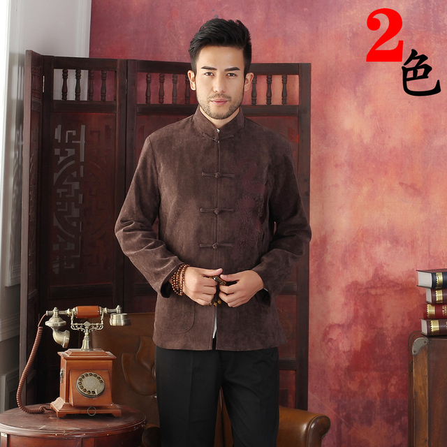 Coffee Traditional Chinese Men's Kung-u Jacket Coat shirt Embroidery with Dragon M L XL XXL XXXL Wholesale Retail