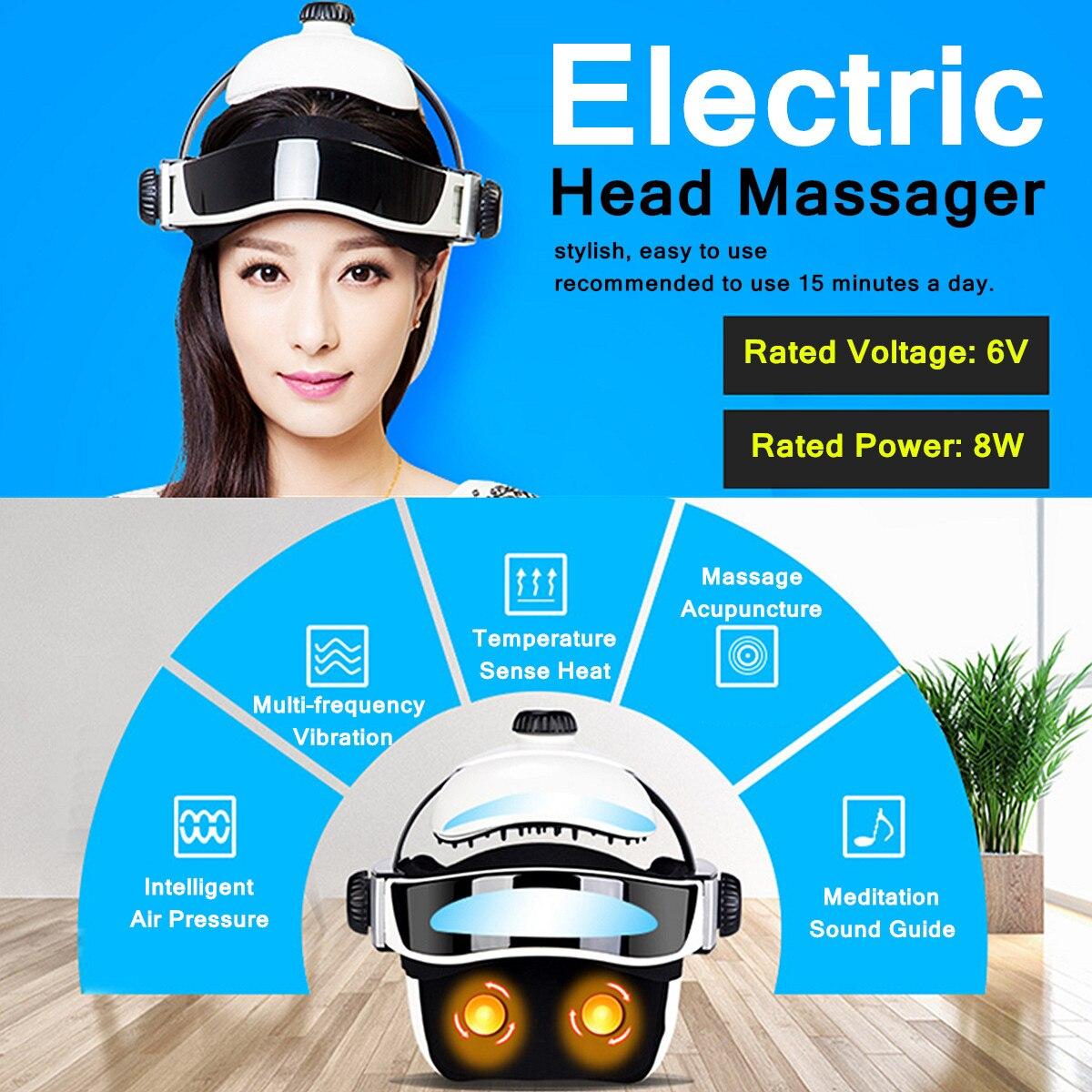 6 v 8 w 100-240 v 50/60 hz Testa Massager Elettrico A Infrarossi Pressione Rilassarsi Agopuntura Musica massaggio Casco ABS + Gomma + Spugna