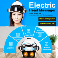 6V 8W 100 240V 50/60Hz Electric Head Massager Infrared Pressure Relax Acupuncture Music Massage Helmet ABS+ Rubber + Sponge