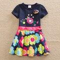 Varejo! 2016 verão para meninas vestido baby & kids decalques 100% algodão nova entidade menina talão bordado vestido de renda frete grátis h4650