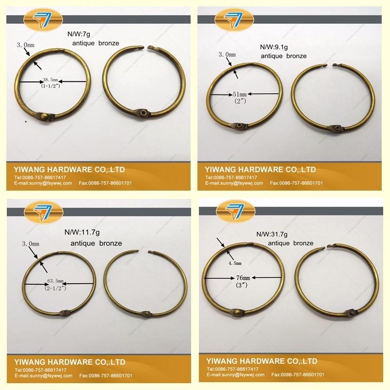 Livro Bronze anel de metal anel de