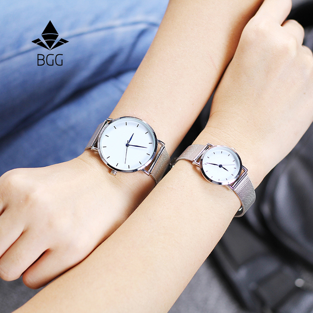 adb1e4f2f Hot fashion minimalism style women's watches blue pointer simple silver  watch women quartz clock with stainless steel mesh band