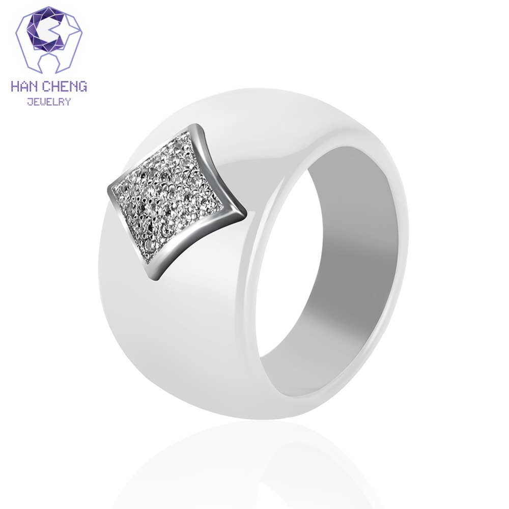 HanCheng New Fashion Luxury Geometric Gem Stone Silver AAA Cubic Zirconia Ceramic Ring Statement Rings For Women Jewelry Bijoux chic faux gem embellished geometric necklace for women