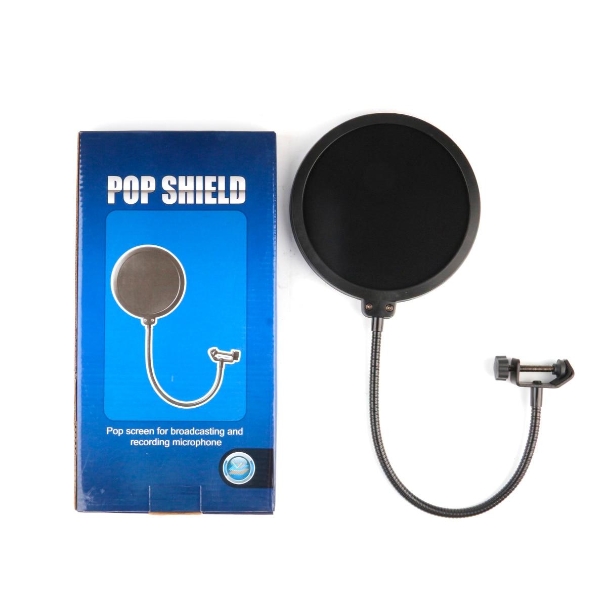 Double Layer Voorruit Studio Microfoon Flexibele Wind Screen Mask Mic Pop Filter Bilaag Shield Voor Spreken Recording