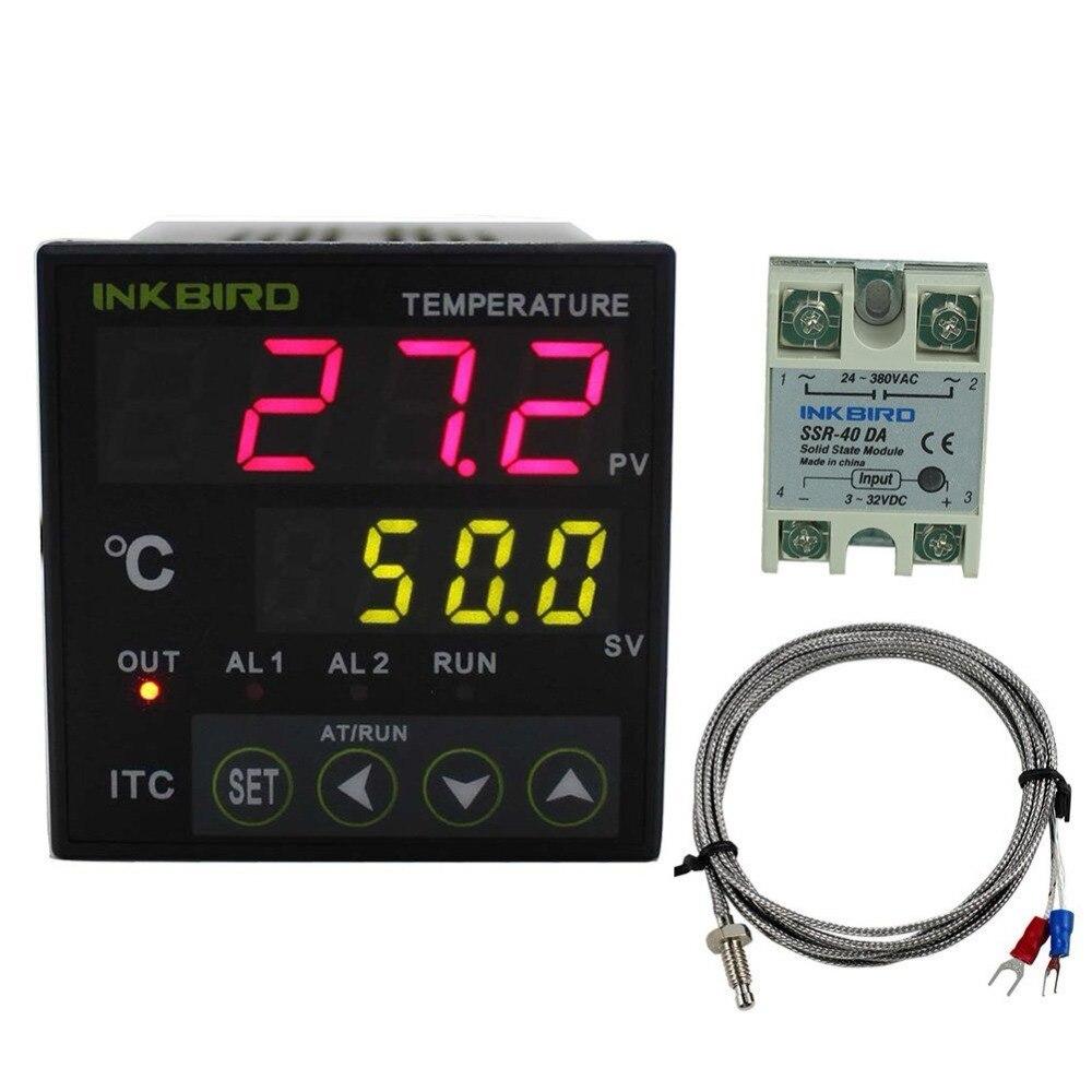 Contrôleur de température Inkbird PID Thermostat AC 100-220 V ITC-100VH + K capteur + 40A SSR pour l'infusion à la maison, garçon de voiture, maison verte