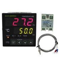 Inkbird pid温度コントローラサーモスタットac 100-220ボルトITC-100VH + kセンサー+ 40a ssr用ホーム醸