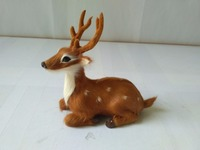 Prone Sika Deer 13x6x12cm Model Polyethylene Real Furs Male Deer Handicraft Figurines Prop Home Decoration Toy