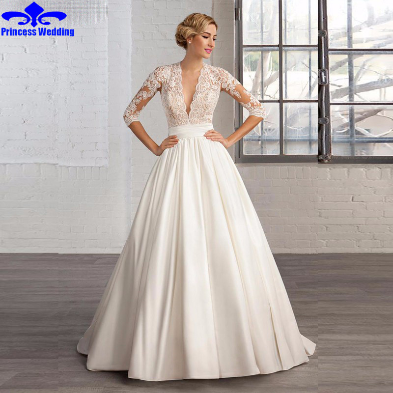 latest design plain satin wedding dress 2017 new fashion vestido de noiva v neck half sleeve a line bridal dress with lace in wedding dresses from weddings