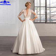 Latest design plain satin wedding dress 2017 New Fashion Vestido De Noiva V-Neck Half Sleeve A Line Bridal Dress with Lace