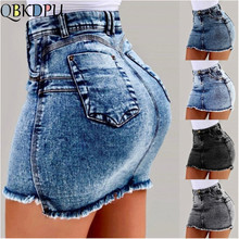QBKDPU Sexy Chic Pencil Skirts Women High Waisted Ripped Denim Skirts Mini Jean Skirt