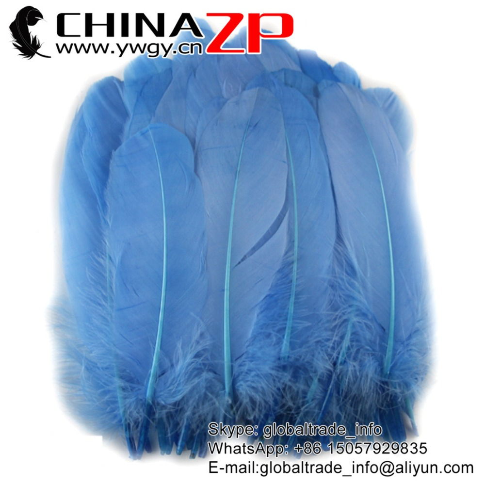 Gold Manufacturer CHINAZP Factory 100 pieces/lot Selected Prime Quality Dyed Sky Blue Goose Satinettes Loose Feathers
