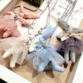 Fashion Children Kids Baby Jewelry Sweater Rope Chain Necklace Cute Cloth Art Rabit Pink Blue White Gray Necklace for Girl