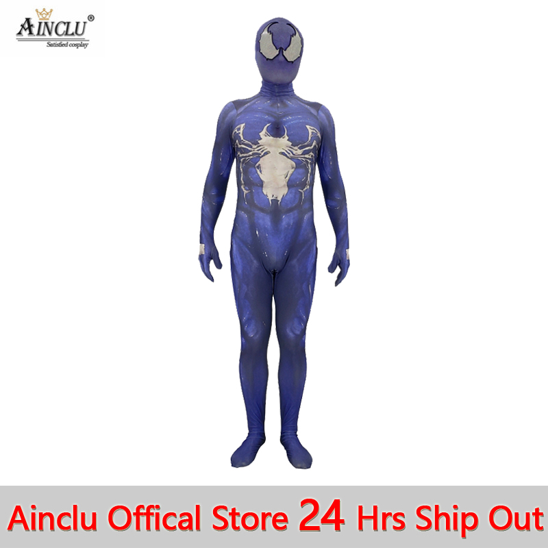 Ainclu 24 Hrs Shipped Out Kid Men Venom Spiderman Cosplay Costumes for Halloween Kid Men Movie Spiderman Jumpsuit Costumes