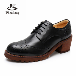 Image 3 - Yinzo Women oxford pumps shoes vintage genuine leather lady Pumps oxford heels shoes for women black brown shoes 2020 spring