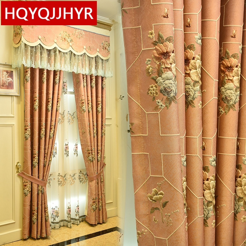 European Top Luxury Pink Blue Cream Color Blackout Bedroom 3D Curtains Window Curtain Living Room Window Curtain Hotel