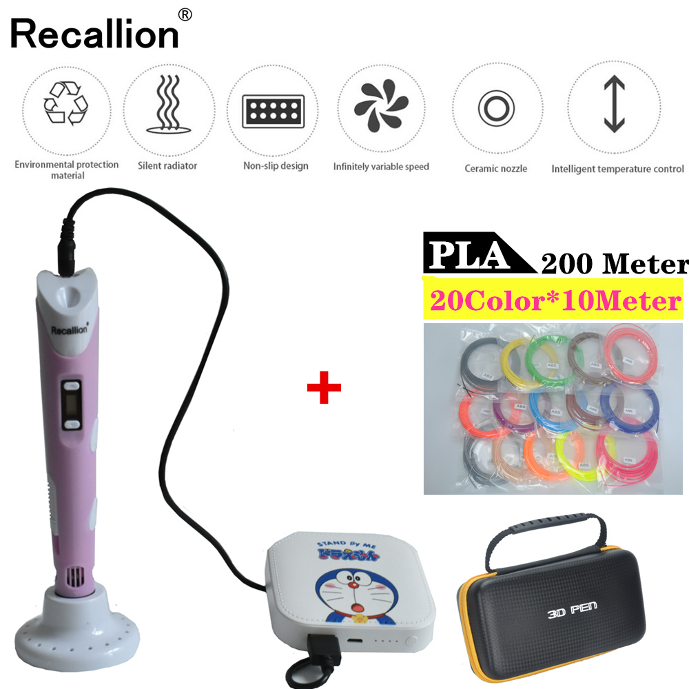 3D Pen+6000mAH Power Bank+200M(20Color) PLA Filament 3D Printing Pen LED Screen Creative Toy Gift For Kids Design Drawing pen 3d(China)