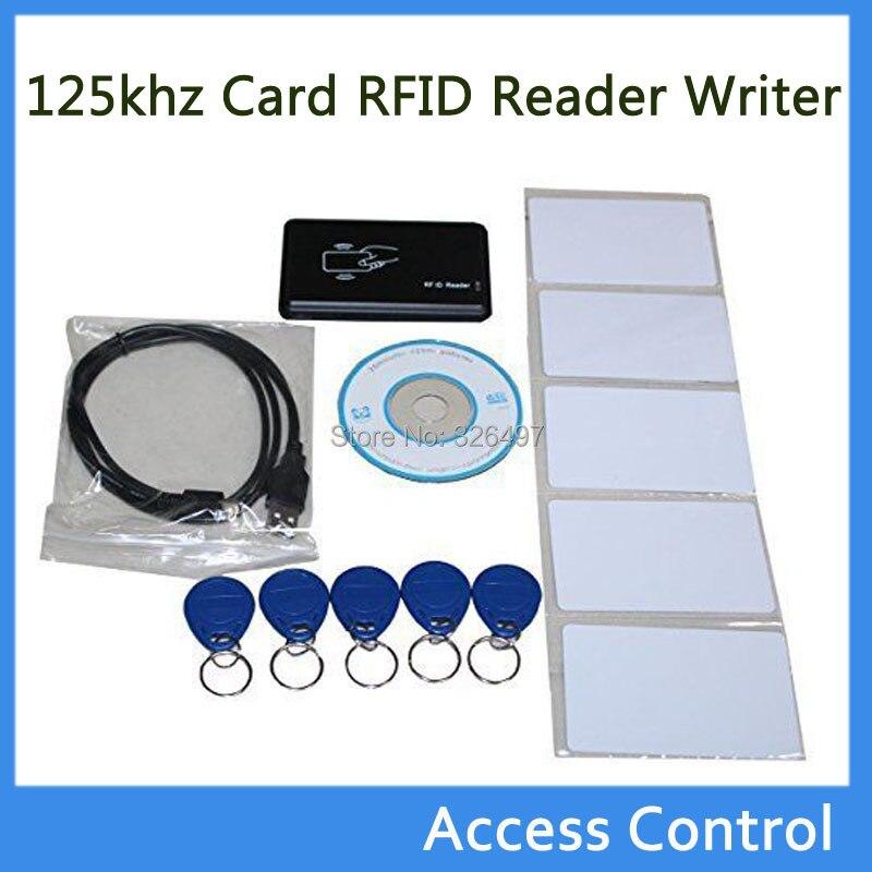 125KHz RFID ID Card Reader & Writer/Copier/Programmer + FREE Rewritable ID  Card/Keyfob COPY ISO EM4100 EM4102 Proximity T5577