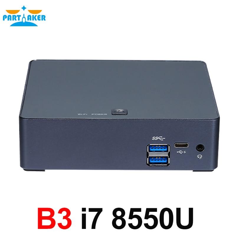 Partaker Nuc Mini PC i7 8550U Quad Core Windows 10 Pro DDR4 Max 16GB AC Wifi Mini Computer HD Typc C
