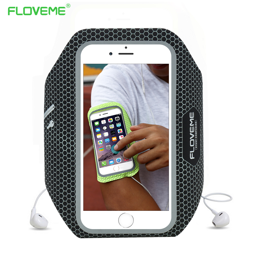 FLOVEME Universal Men Sport Waterproof Running Armband For iPhone 6 6S 7 Plus 5.5 Inch Women Screen Touch Phone Bags