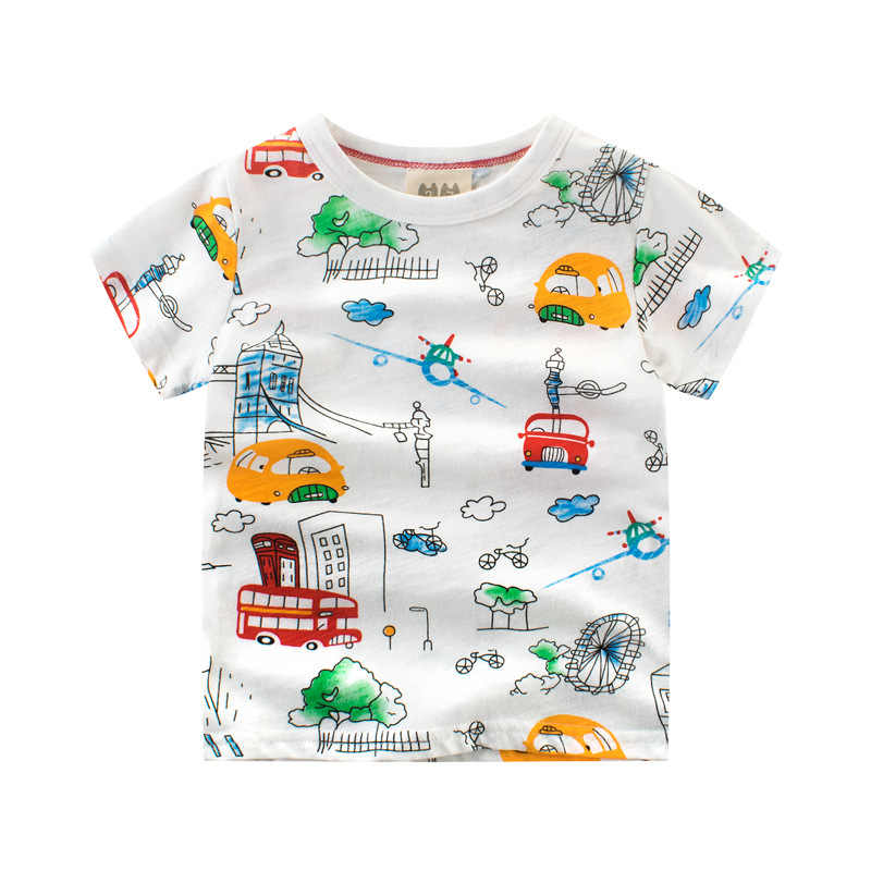 Wholesale New 2018 Summer Boy Bamboo Cotton Printed Cute Cartoon Car T Shirt Tops Baby Clothes Kids Soft Comfortable Tees Cybex