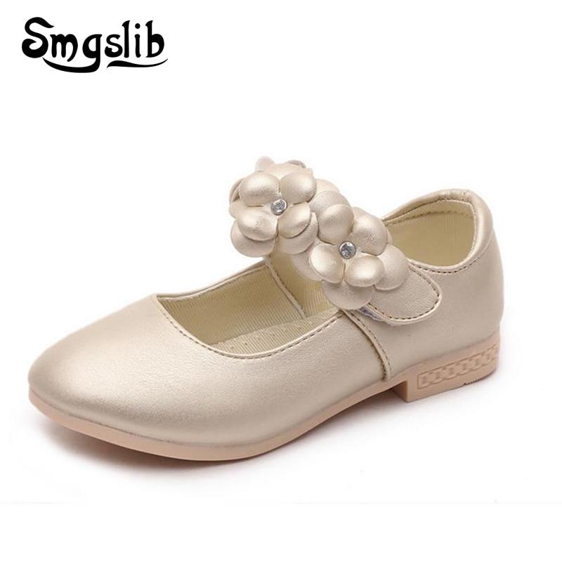 Smgslib Brand Girls Shoes Fashion Princess Flat Shoes Children Sneaker Pu Leather Flower School Girls Dress Shoes Size 26 36 in Leather Shoes from Mother Kids