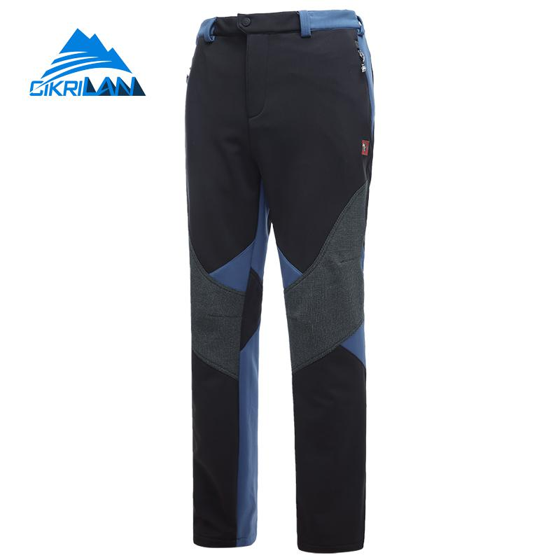 Outdoor Hiking Trekking Softshell Pants Men Windstopper Water Resistant Sport Climbing Camping Trousers With Warm Fleece Lined men plus size 4xl 5xl 6xl 7xl 8xl 9xl winter pant sport fleece lined softshell warm outdoor climbing snow soft shell pant
