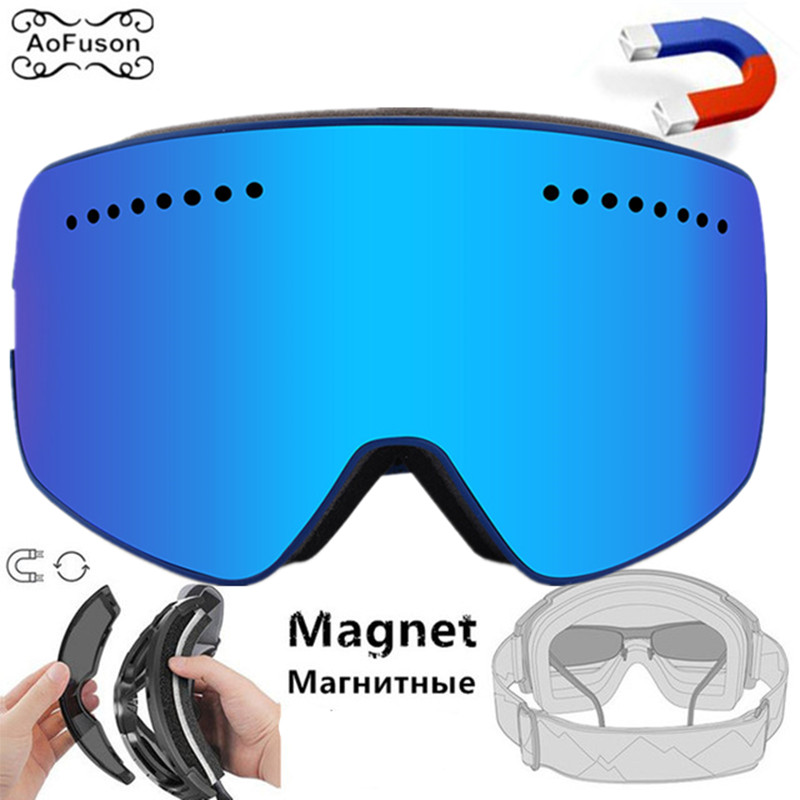 Magnetic Snowboard Goggles, Skiing Glasses Double Anti-fog Lens UV400 Big Spherical Quick-change Lens Mask Skiing Eyewear