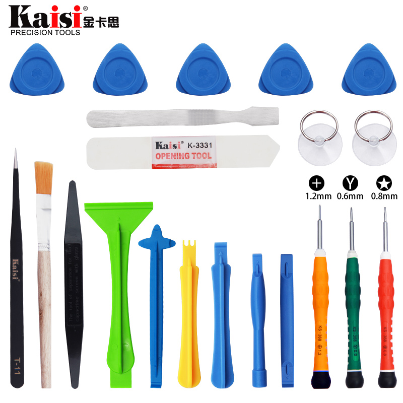 Kaisi 21 in 1 Mobile Phone Repair Tools Kit Spudger Pry Opening Tool Disassemble Tools for iPhone X 8 7 6S 6 Plus Hand Tools Set 2017 hot sale new arrival magnetize for screwdriver plus porcelain degaussing minus disassemble charge sheet hand tool parts