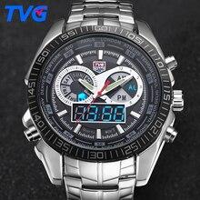TVG Mens Relojes de Primeras Marcas de Lujo Del Cuarzo Del Deporte Del Reloj de Los Hombres Reloj Digital LED Reloj Ejército Reloj Militar Relogio masculino