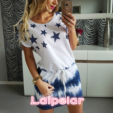Summer Dress Women 2018 Fashion Short Sleeve O-Neck Star Print Mini Sexy Dress Brand New Plus Size Loose Casual Party Vestidos