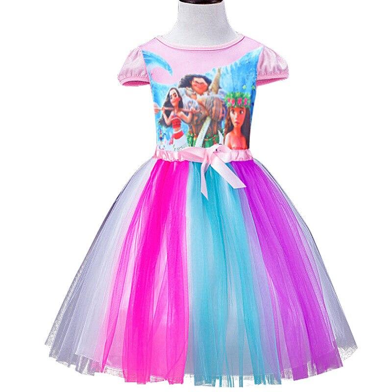 2018 sommarklänning ny regnbåge Moana flickor klänning färgglada Hello Kitty baby klänning flicka barn klänningar för flickor kläder 90-125cm